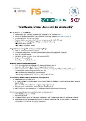 """Poster: FIS-Stiftungsprofessur """"Soziologie der Sozialpolitik"""""""
