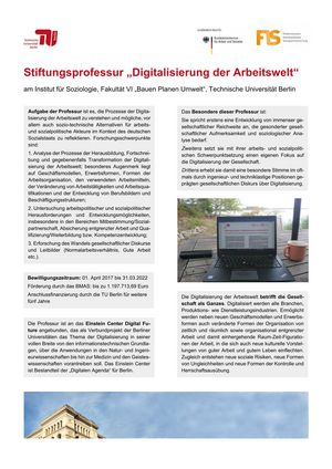 """Poster: Stiftungsprofessur """"Digitalisierung der Arbeitswelt"""""""